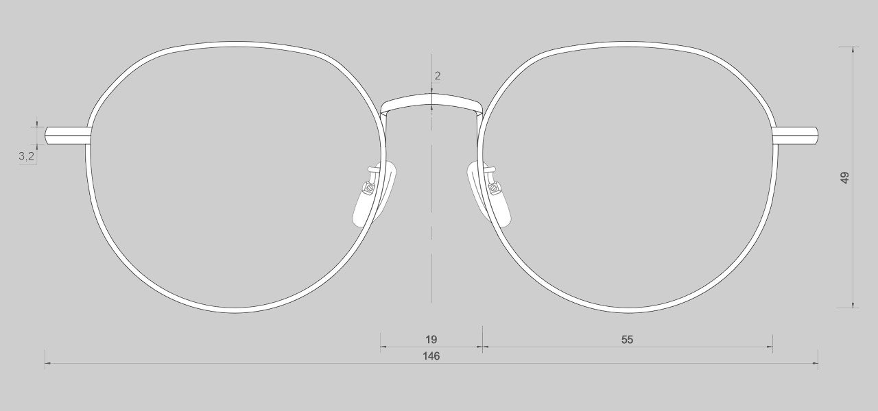 Sizing 안경 너비 : 146mm 안구 가로/세로 : 55mm  / 49mm 브릿지 : 21mm, 안경다리 : 148mm